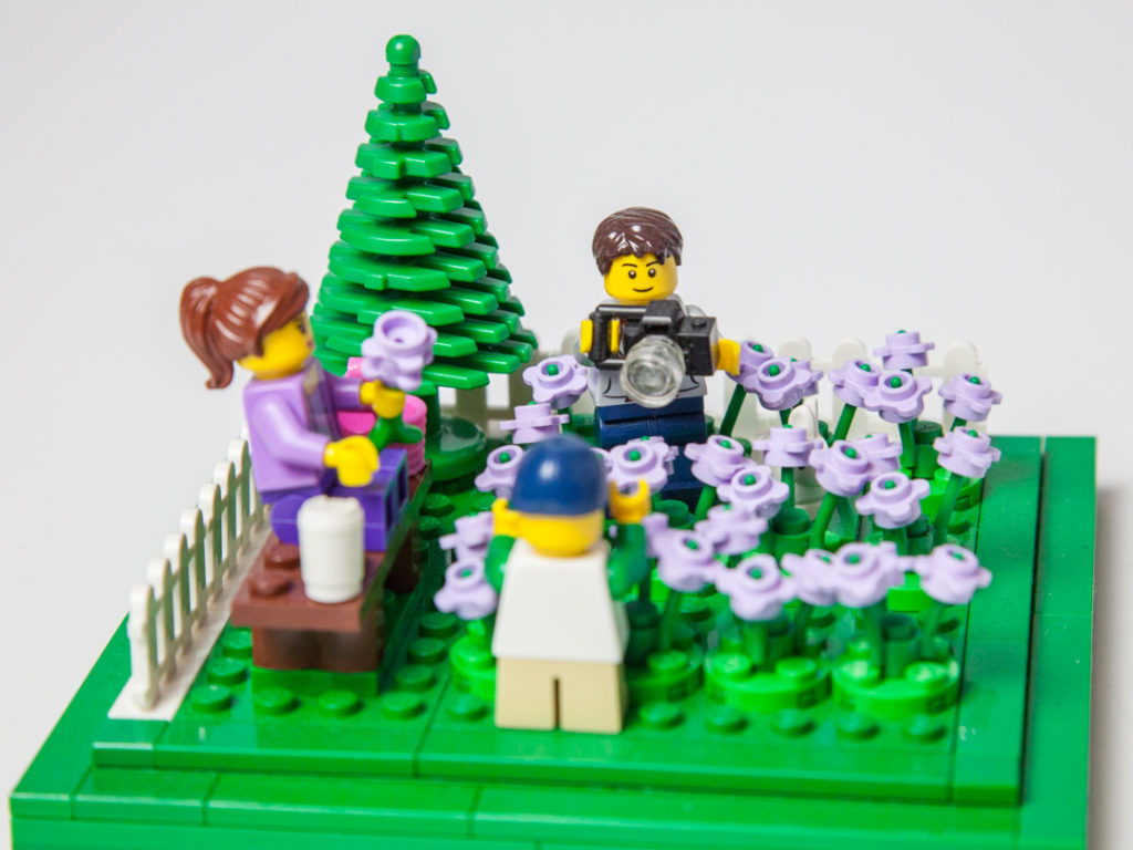 Family fun in the Lego lavender field by Door County Bricks