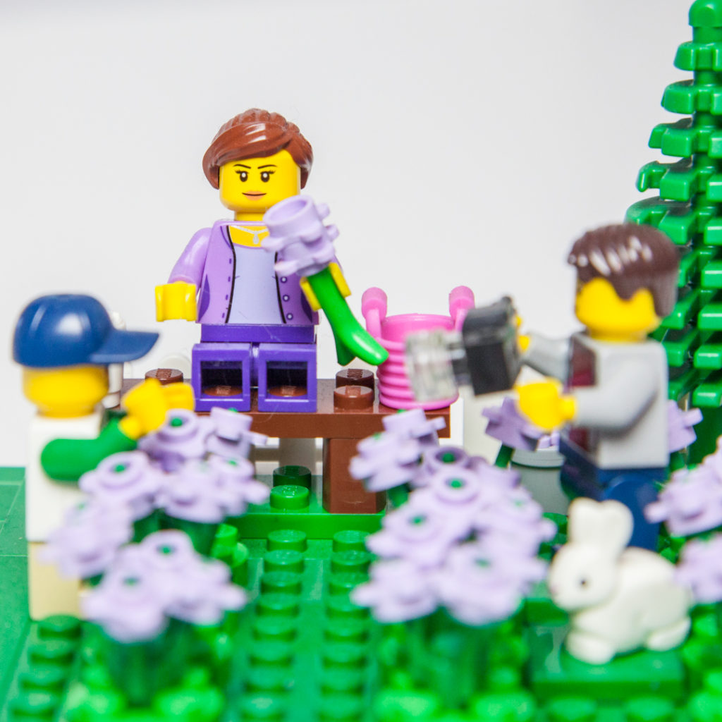 Smelling the lavender in Lego by Door County Bricks