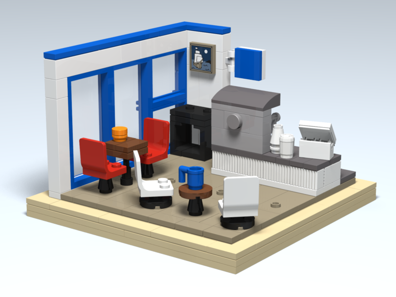 Blue Horse Cafe custom Lego design by Door County Bricks