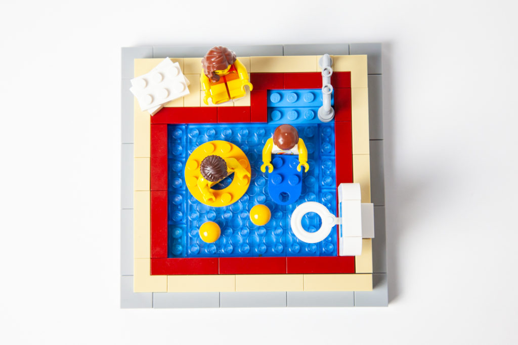 Bridgeport indoor pool custom Lego project by Door County Bricks
